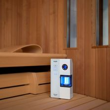 Microsalt SaltProX can simply be placed on the couch in the sauna cabin.