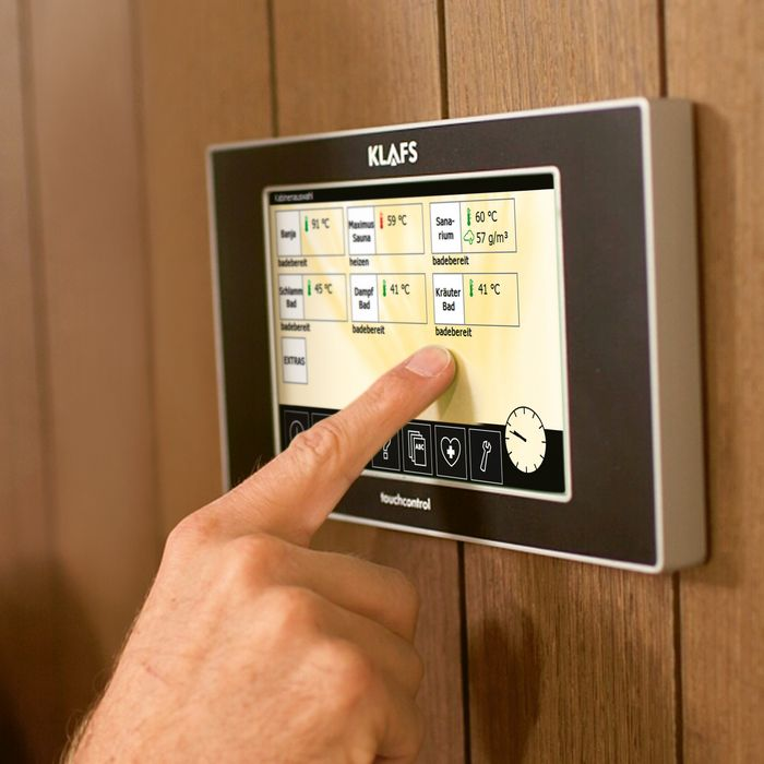 All settings in the wellness facility can be easily planned and adjusted with the TOUCHCONTROL Professional.