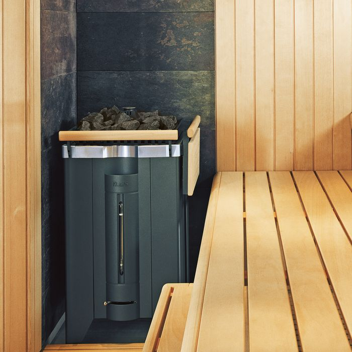 Clad in dark or light natural stone, the stone corner is the perfect complement to the MAJUS sauna heater and a special feature in your sauna.