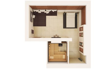 KLAFS ideas for sauna rooms: Floor plan for 40 m2 room size