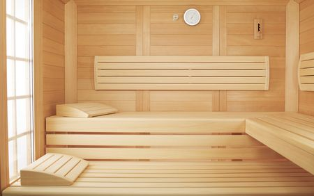 EMPIRE solid wood sauna: Made entirely from Karelian spruce, this sauna has a particularly natural appeal, and the vibrant grain of the wood is a real eye-catcher.