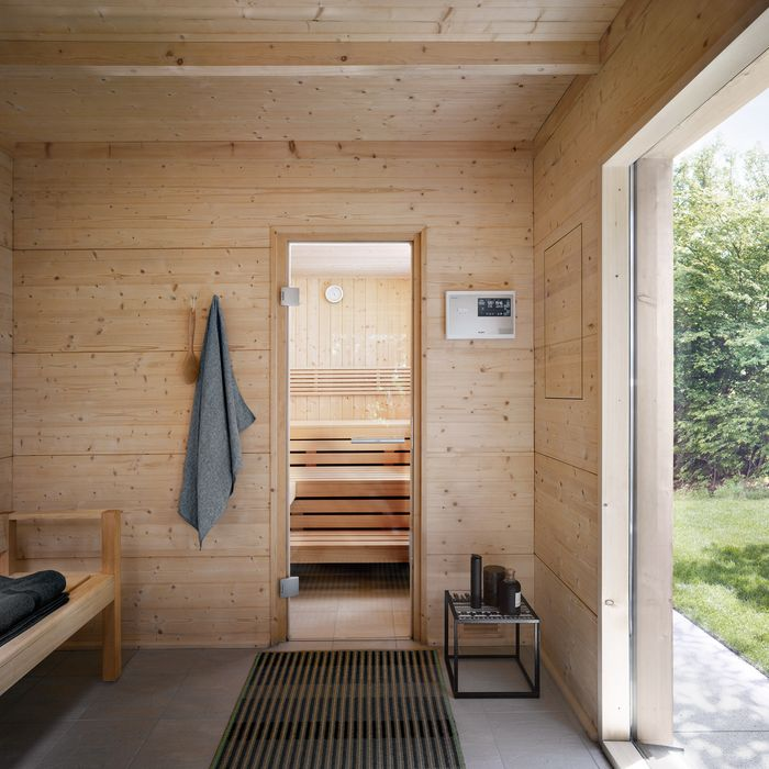 TALO Outdoor Sauna: Anteroom with panoramic window and view inside the sauna.