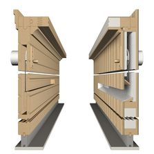 Ventilation ducts, on the left in solid wood and on the right in modular design