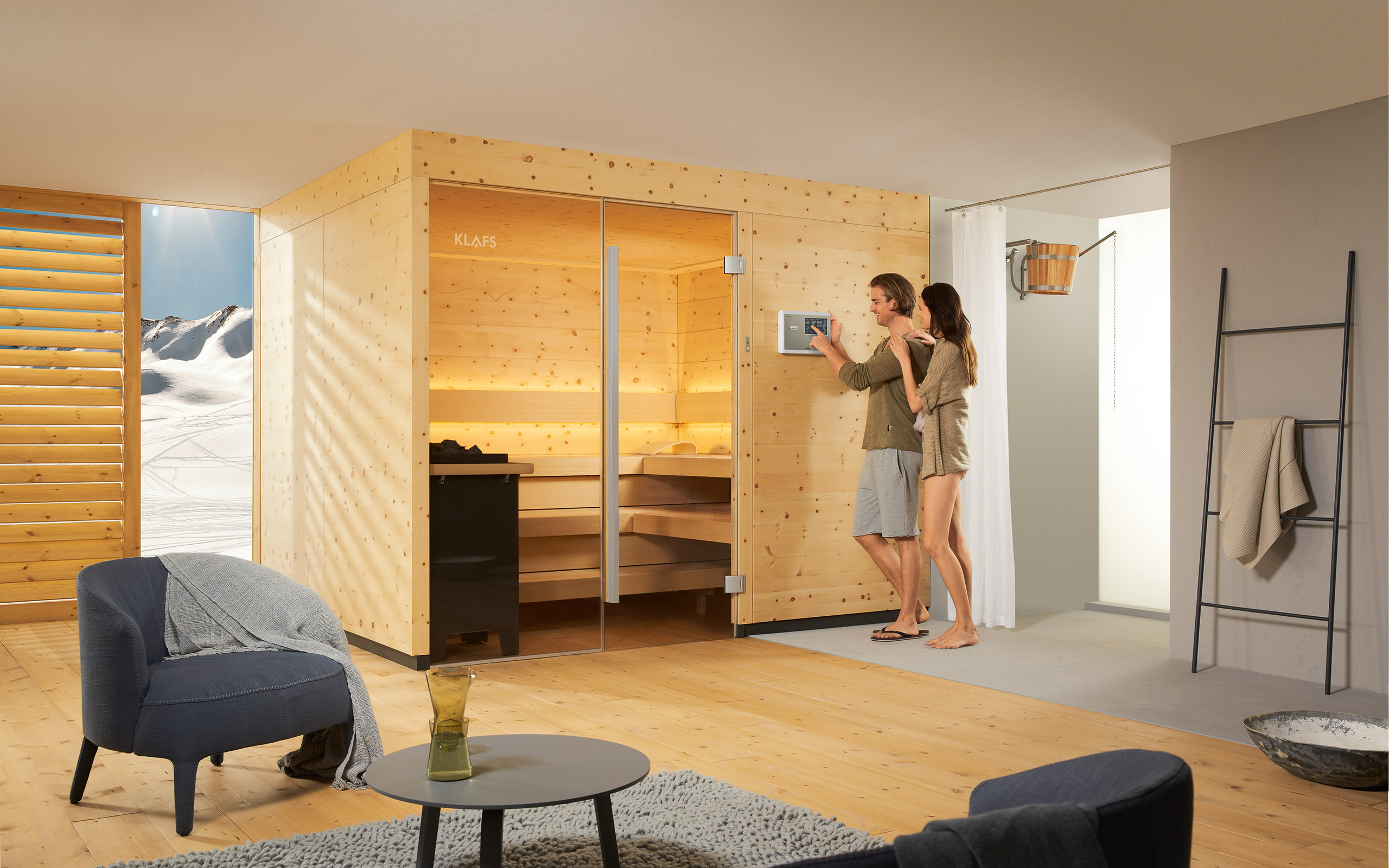 klafs sauna control units design wi fi app touch voice control. Black Bedroom Furniture Sets. Home Design Ideas